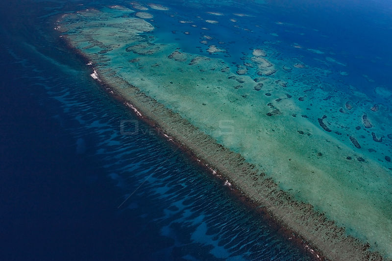 Aerial view of southern Belize barrier reef, showing Gladden Spit, where there is a sharp bend in the reef,