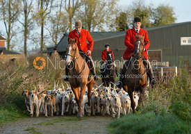 Andrew Osborne and Chris Edwards leaving the meet - The Cottesmore Hunt at the kennels 21/10