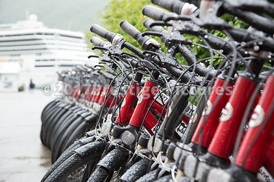 Line of Hire Bikes in the Rain