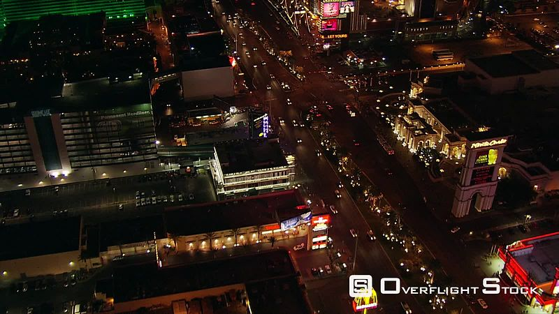 Flight crossing The Strip, over Excalibur Hotel toward the Luxor in Las Vegas.