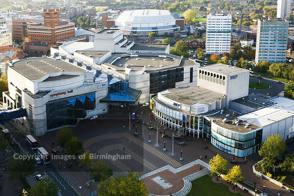 The Birmingham REP Theatre and Symphony Hall in Centenary Square.  To the rear is the NIA (National Indoor Arena) and Brindleyplace.  Birmingham, England, UK