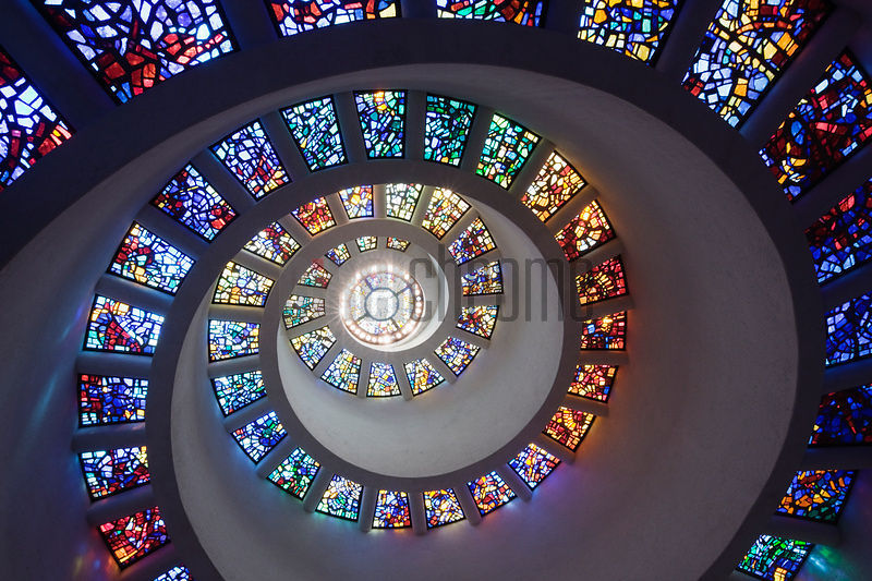Stained glasses in a chapel, Thanksgiving Chapel, Thanks-Giving Square