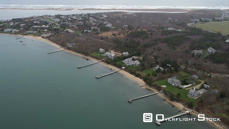 Residential Area Along Katama Bay on Martha's Vineyard, Massachusetts. Shot in November
