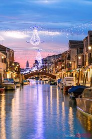 Canal with Christmas lights at sunset, Burano, Venice