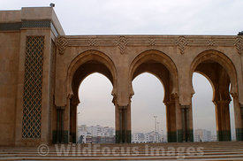 Arches from the Hassan II Mosque, Casablanca, Morocco; Landscape