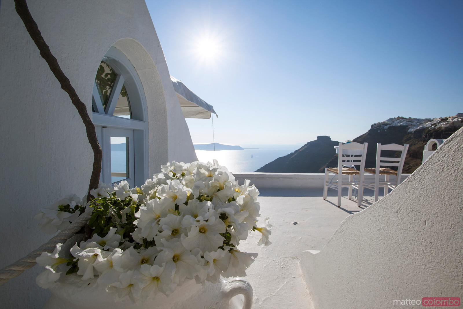 Typical whitewashed house in Santorini, Greece