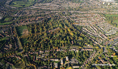 Panoramic aerial photograph of Lodge Hill Cemetery, Birmingham