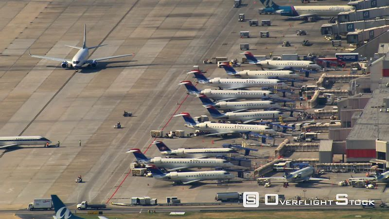 Aerial view of jets parked at Hartsfield-Jackson Atlanta International Airport.