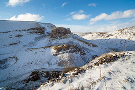 Cressbrook Dale in winter with Peter's Stone