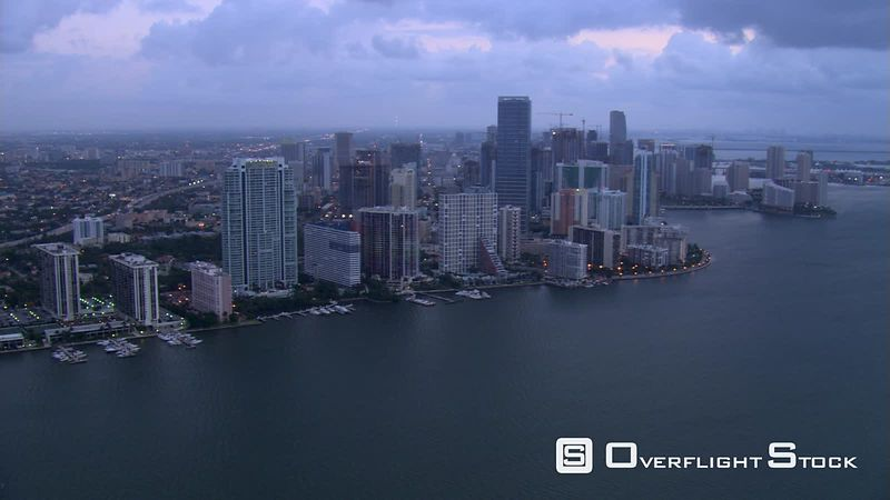 Evening flight along Miami waterfront.