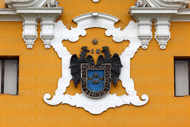 Coat of Arms of city of Lima on facade of Municipal Palace / City Hall building, Peru