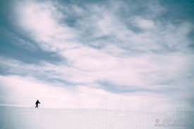 Cross-country skier on white desert landscape