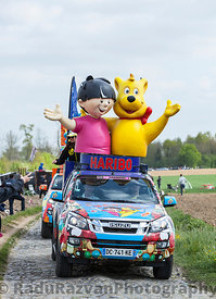 Haribo Vehicles during Paris Roubaix Cycling Race