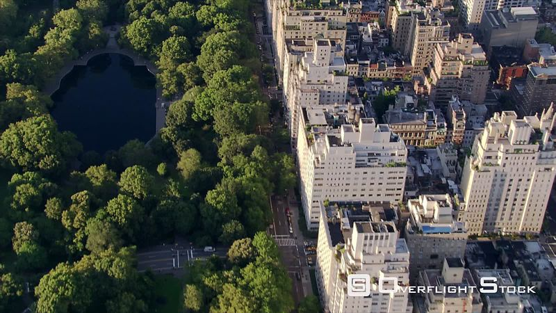 Flying north over Central Park along Fifth Avenue.