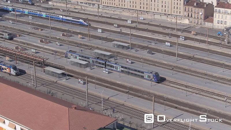 Aerial view of train traffic at Marseille Saint-Charles Train Station, filmed by drone, Marseille, France