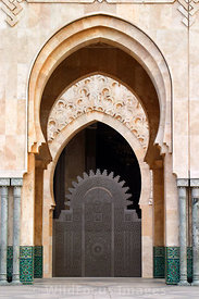 Beautiful Arabic arch and doors of the Hassan II Mosque, Casablanca, Morocco; Portrait