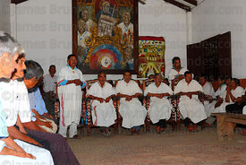 Mojeño indigenous leaders seated in their Cabildo (parliament) building, San Ignacio de Moxos, Bolivia