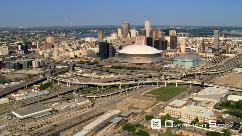 Flying past Superdome toward downtown New Orleans.