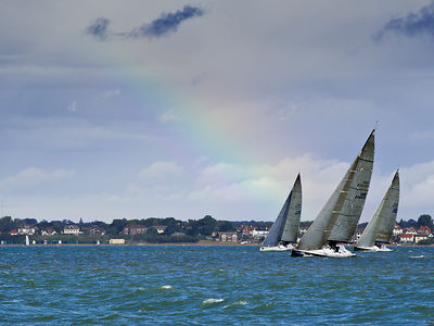 Racing yachts and rainbow GBR 4512R 2045R 745R