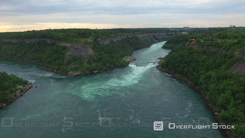 Aerial Over Niagara River in Niagara Gorge Canada