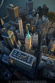 Aerial photograph of Wall Street and the New York city Financial District