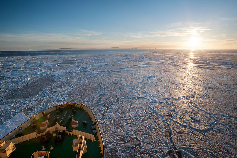 Russian icebreaker Kapitan Khlebnikov heads into the Weddell Sea en route to Snow Hill island emperor penguin colony. Antarctica.