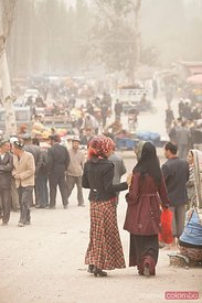 Dusty street scene in Kashgar, Xinjiang, China