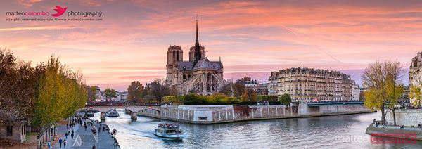 Panoramic of river Seine and Notre Dame at sunset, Paris