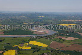 The River Severn high level aerial view looking across the Gloucester and Sharpness canal towards the Malvern hills in the distance
