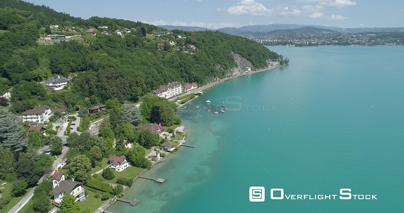 Lake Annecy at Sevrier, viewed from drone