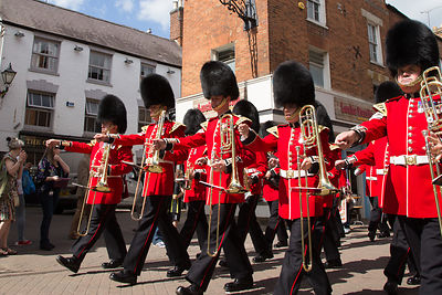 The Band of the Irish Guards Marching along Banbury High Street