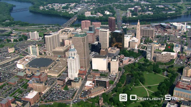 Flying over civic landmarks in Hartford, Connecticut.