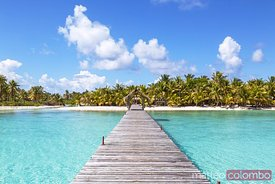 Jetty to tropical island, Tikehau atoll, French Polynesia