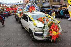 Car decorated with flowers taking part in parades for the Entierro del Pepino, La Paz, Bolivia