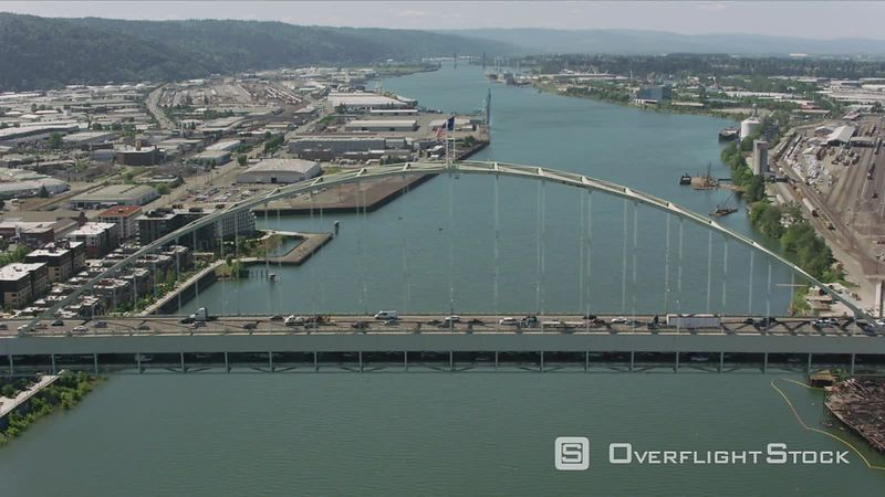 Portland, Oregon Daytime aerial shot of Fremont Bridge.  Shot with Cineflex and RED EpicW Helium.
