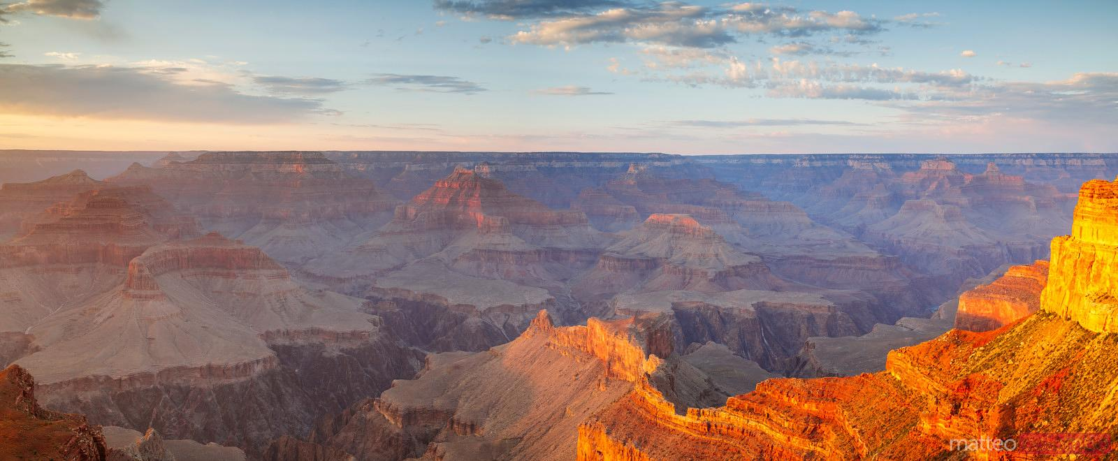 Panoramic sunset over Grand Canyon South Rim, USA