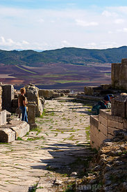 The stage and surrounding countryside of the Theatre at Dougga; Tunisia; Landscape