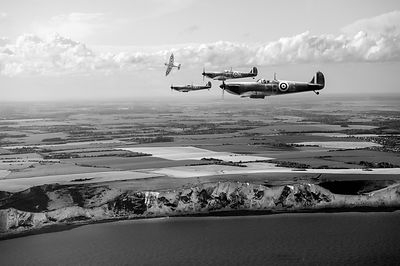 White Cliffs Spitfires black and white version