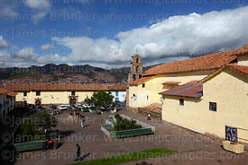 View over Plaza San Blas and San Blas church, Cusco, Peru