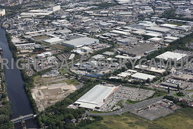 Trafford Park Industrial Estate aerial photograph looking across Redclyffe Road towards Ashburton Road west towards Tenax road and the centre of the industrial park