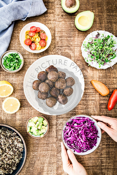 Ingredients for Quinoa Power Bowls with Meatballs