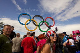 Visitors Viewing the Giant Olympic Rings