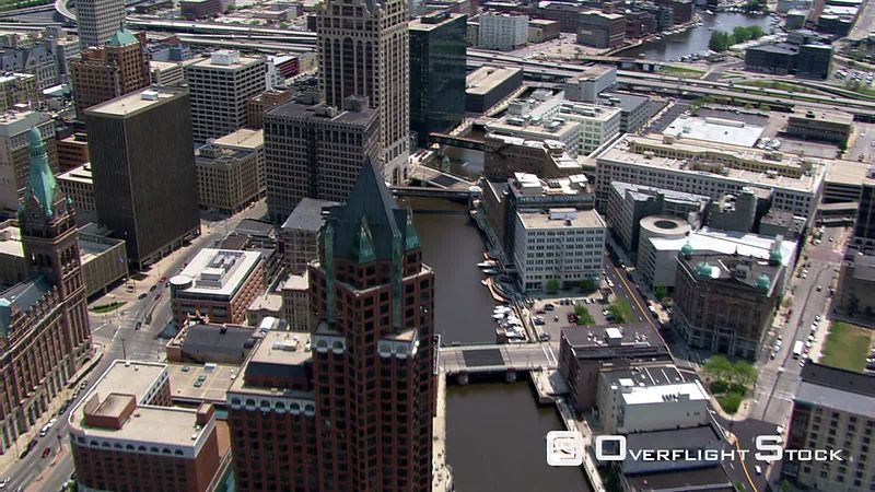 Flight over downtown Milwaukee, Wisconsin