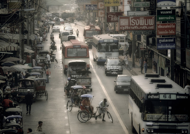 Busy street scene in Thailand Asia