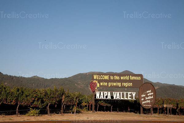 Welcome sign near vineyard, Napa valley