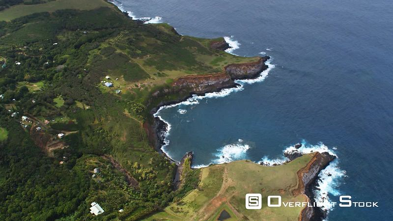 Orbiting shoreline of Maui with zoom-out to wide view of landscape.