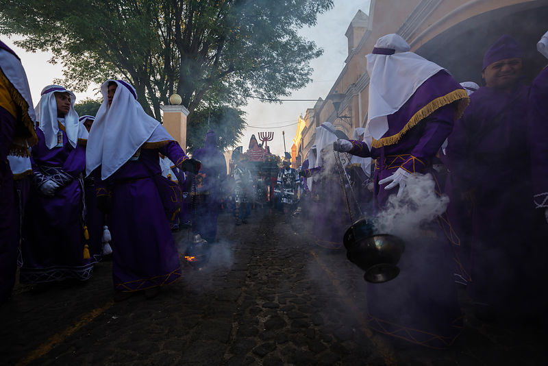 Penitents in Semana Santa Parade