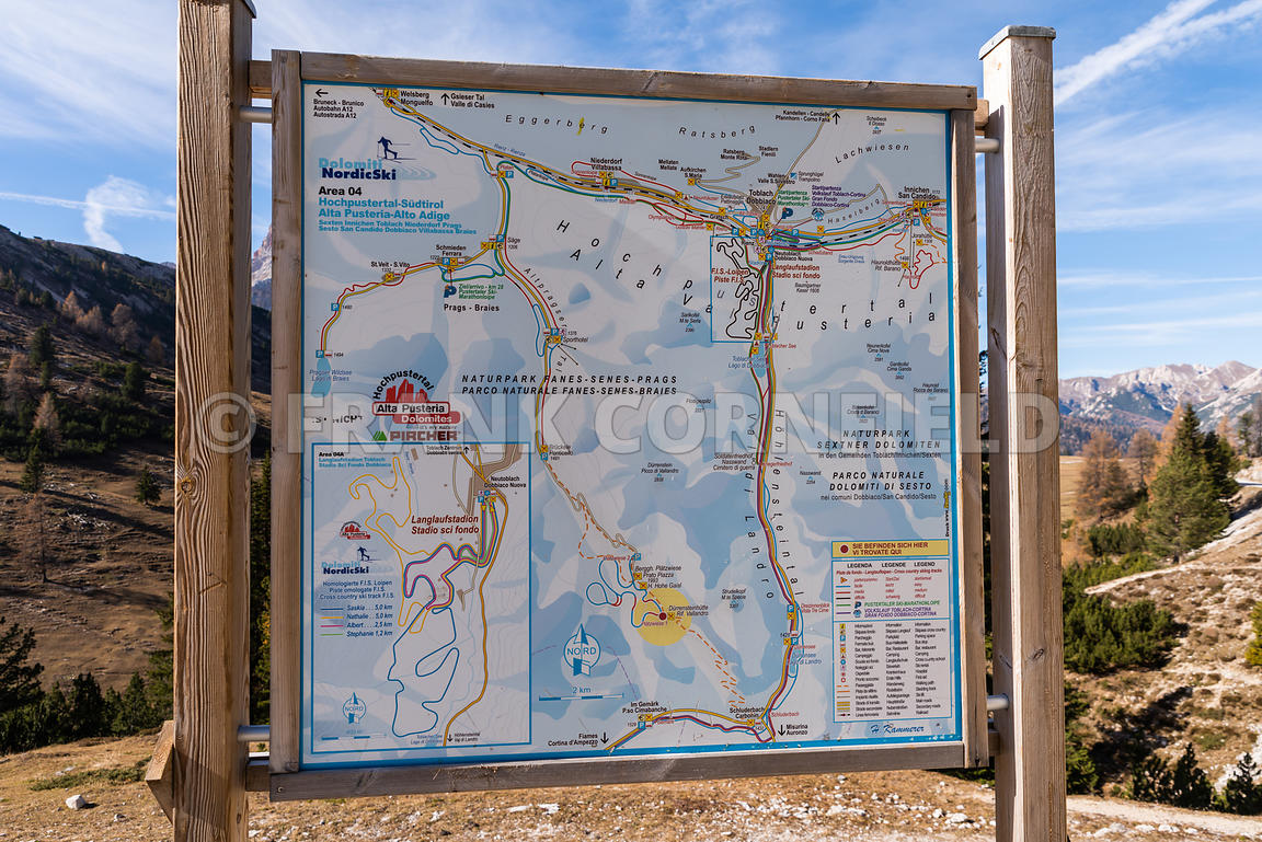SCHLUDERBACH CARBONIN, ITALY - OCTOBER 26, 2018: a map of Hiking area in the Fanes Sennes Prags Nature Park near Schluderbach Carbonin in the South Tyrol, Italy.