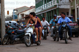 Motorbikes on the streets of Trinidad , Beni , Bolivia