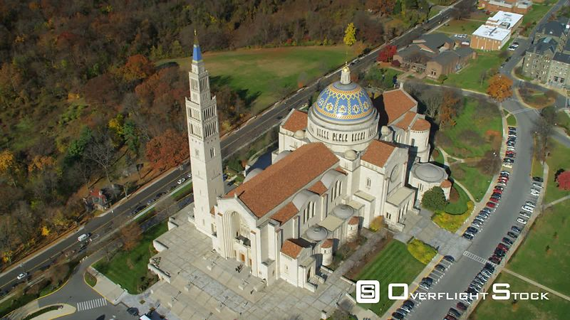 Over the Basilica of the National Shrine of the Immaculate Conception, Washington DC.